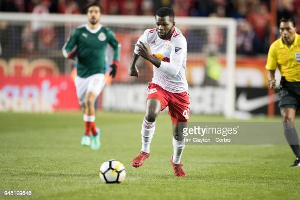 Kemar Lawrence of New York Red Bulls in action during the New York Red Bulls Vs CD Guadalajara CONCACAF Champions League Semifinal 2nd leg match at...