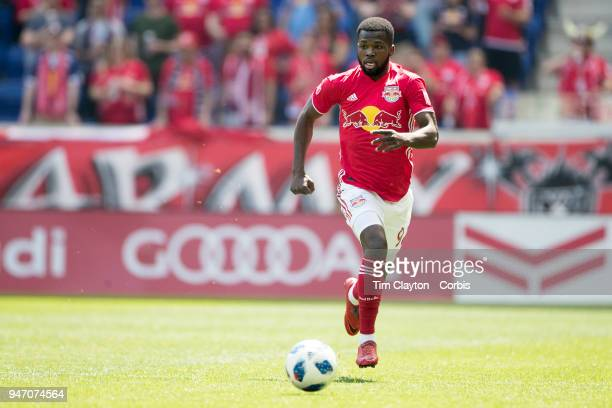 Kemar Lawrence of New York Red Bulls in action during the New York Red Bulls Vs Montreal Impact MLS regular season game at Red Bull Arena on April 14...
