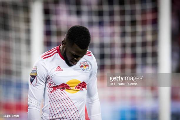 Kemar Lawrence of New York Red Bulls shows his frustration with a missed goal during the CONCACAF Champions League Semifinals Leg 2 match between CD...