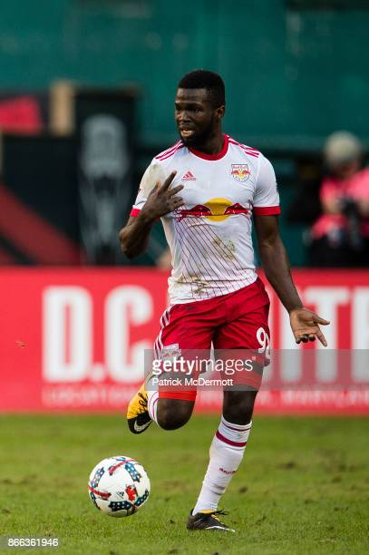Kemar Lawrence of the New York Red Bulls controls the ball against DC United in the first half at RFK Stadium on October 22 2017 in Washington DC