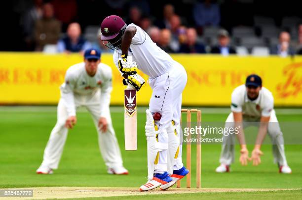 Kemar Roach of the West Indies bats during the Tour Match between Essex and West Indies at Cloudfm County Ground on August 2 2017 in Chelmsford...