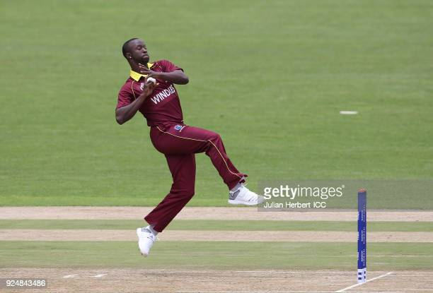 Kemar Roach of The West Indies bowls during The ICC Cricket World Cup Qualifier Warm Up match between Afghanistan and The West Indies at The Harare...