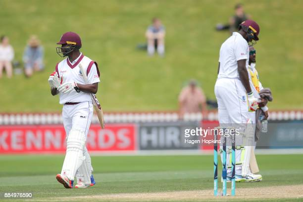 Kemar Roach of the West Indies leaves the field after being dismissed during day four of the Test match series between New Zealand Blackcaps and the...