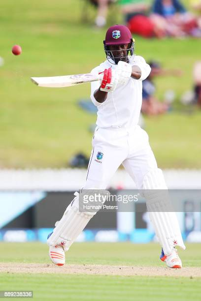 Kemar Roach of the West Indies pulls the ball during day two of the Second Test Match between New Zealand and the West Indies at Seddon Park on...