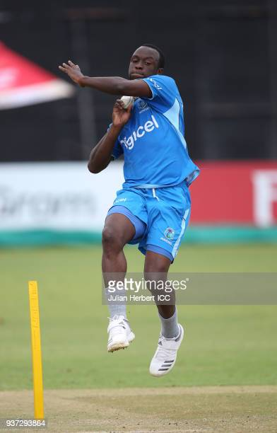Kemar Roach of The West Indies takes part in a training session during The ICC Cricket World Cup Qualifier at The Harare Sports Club on March 24 2018...