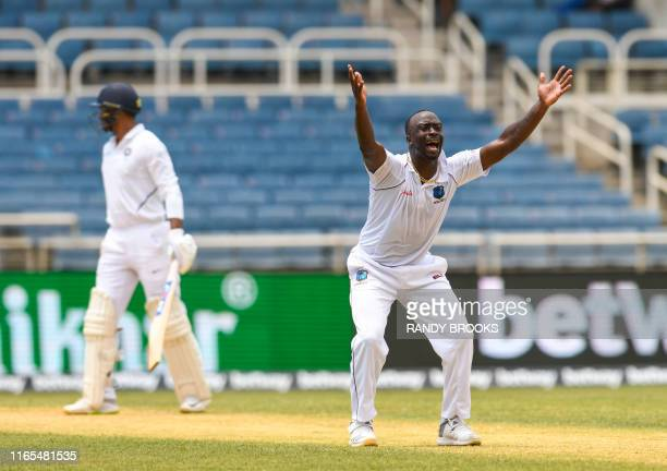 Kemar Roach of West Indies appeals for lbw against Mayank Agarwal of India during day 3 of the 2nd Test between West Indies and India at Sabina Park,...