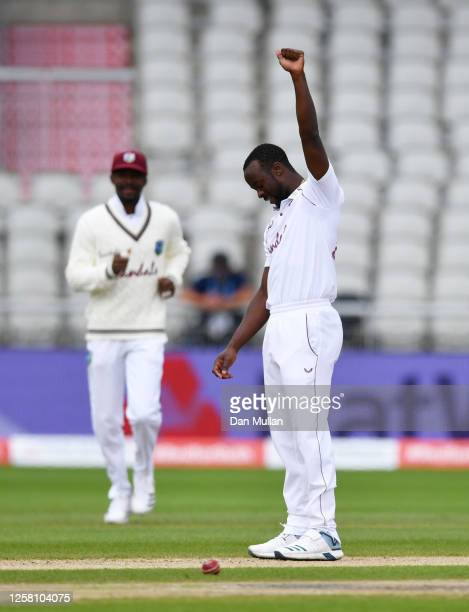 Kemar Roach of West Indies celebrates after taking the wicket of Chris Woakes of England, his 200th Test Wicket during Day Two of the Ruth Strauss...