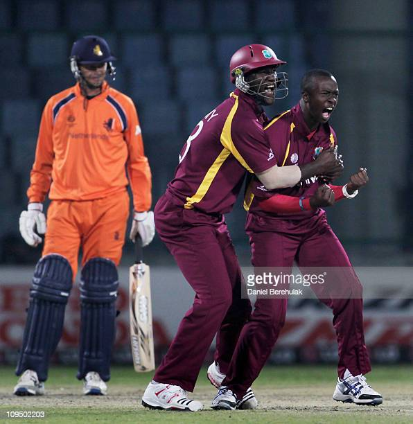 Kemar Roach of West Indies celebrates with captain Darren Sammy the wicket of Bernard Loots of the Netherlands during the 2011 ICC World Cup group B...