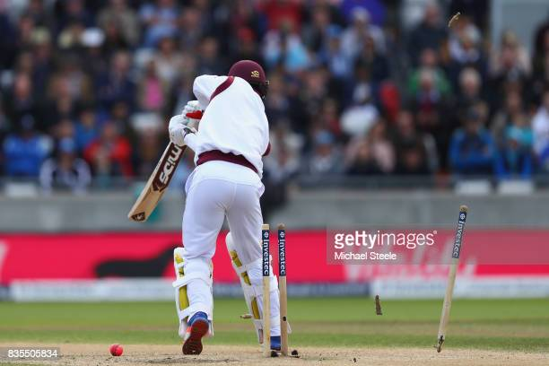 Kemar Roach of West Indies is bowled by Stuart Broad during day three of the 1st Investec Test match between England and West Indies at Edgbaston on...
