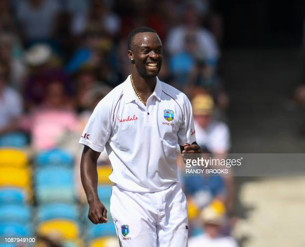 Kemar Roach of West Indies smiles during day 2 of the 1st Test between West Indies and England at Kensington Oval Bridgetown Barbados on January 24...
