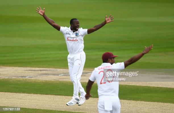 Kemar Roach of West Indies successfully appeals for the wicket of Dominic Sibley of England during Day One of the Ruth Strauss Foundation Test, the...