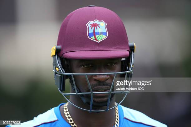 Kemar Roacht of The West Indies takes part in a training session during The ICC Cricket World Cup at The Old Hararians Sports Ground on March 5 2018...