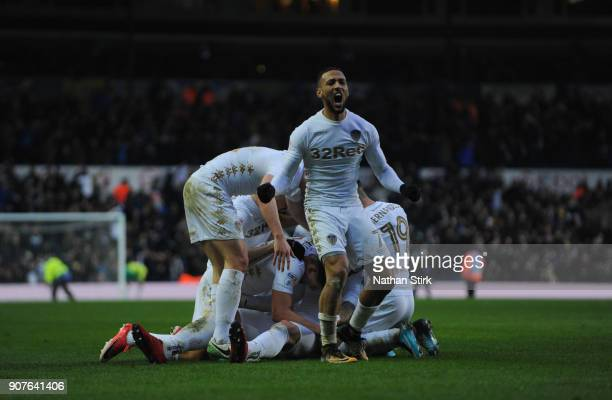 Kemar Roofe celebrates after PierreMichel Lasogga of Leeds United scores during the Sky Bet Championship match between Leeds United and Millwall at...