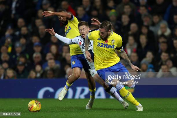 Kemar Roofe of Leeds United and Pontus Jansson of Leeds United close out Harvey Barnes of West Bromwich Albion during the Sky Bet Championship match...
