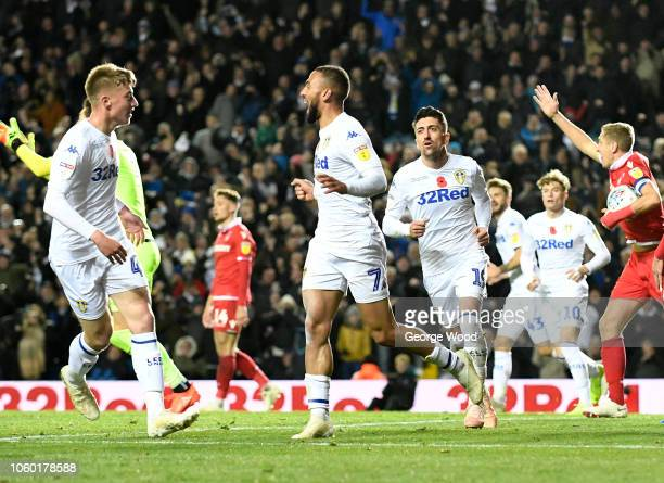 Kemar Roofe of Leeds United celebrates after scoring the equalising goal as Nottingham Forest players appeal for handball during the Sky Bet...