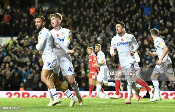 Kemar Roofe of Leeds United celebrates after scoring the equalising goal during the Sky Bet Championship between Leeds United and Nottingham Forest...