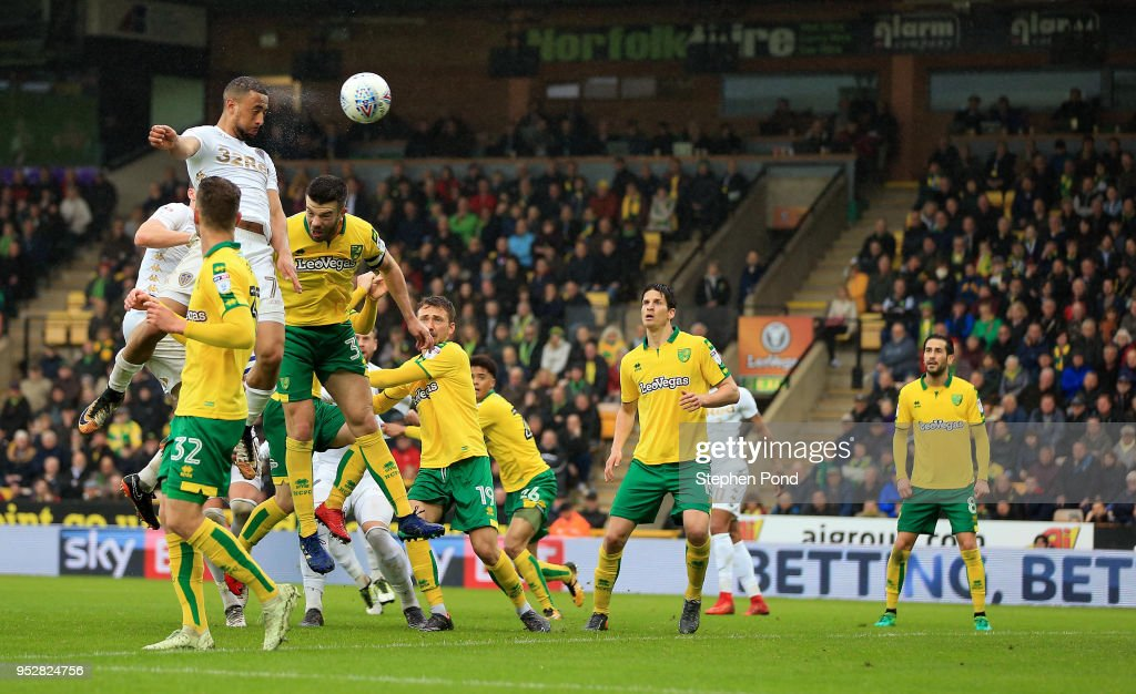 Kemar Roofe of Leeds United heads a shot at goal during the Sky Bet Championship match between Norwich City and Leeds United at Carrow Road on April 28, 2018 in Norwich, England.