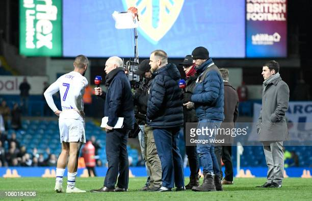 Kemar Roofe of Leeds United is interviewed by Sky Sports following the Sky Bet Championship between Leeds United and Nottingham Forest at Elland Road...