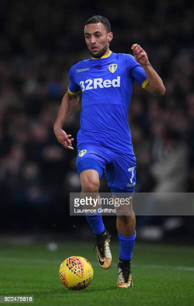 Kemar Roofe of Leeds United runs with the ball during the Sky Bet Championship match between Derby County and Leeds United at iPro Stadium on...