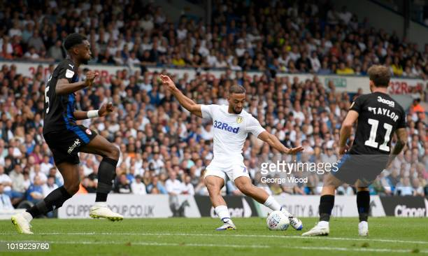 Kemar Roofe of Leeds United shoots at goal as Semi Ajayi of Rotherham United tries to block during the Sky Bet Championship between Leeds United and...