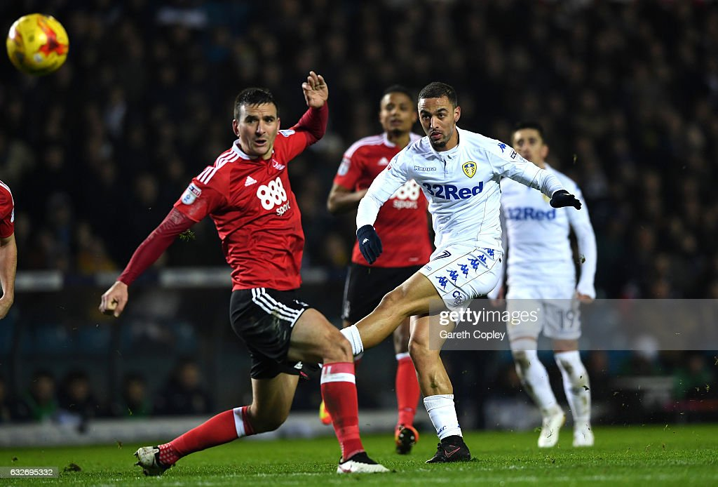 Kemar Roofe of Leeds United shoots past Jack Hobbs of Nottingham Forest during the Sky Bet Championship match between Leeds United and Nottingham Forest at Elland Road on January 25, 2017 in Leeds, England.