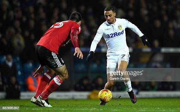 Kemar Roofe of Leeds United takes on Jack Hobbs of Nottingham Forest during the Sky Bet Championship match between Leeds United and Nottingham Forest...