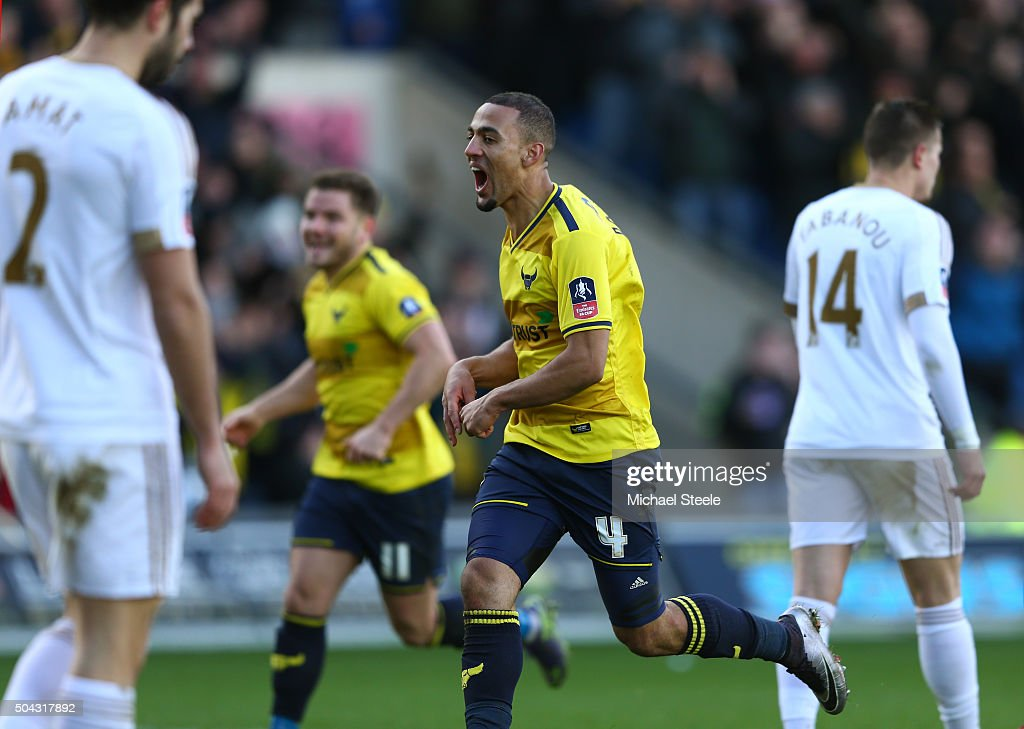 Kemar Roofe of Oxford United celebrates after scoring his team's second goal during The Emirates FA Cup third round match between Oxford United and Swansea City at the Kassam Stadium on January 10, 2016 in Oxford, England.