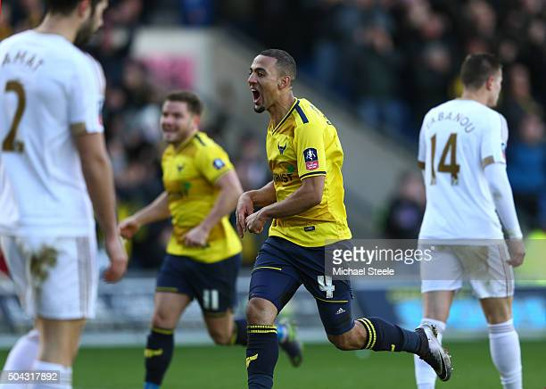 Kemar Roofe of Oxford United celebrates after scoring his team's second goal during The Emirates FA Cup third round match between Oxford United and...