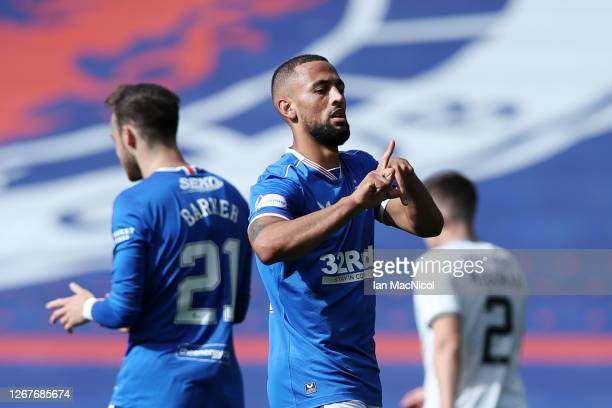 Kemar Roofe of Rangers FC celebrates after scoring his team's first goal during the Ladbrokes Scottish Premiership match between Rangers and...