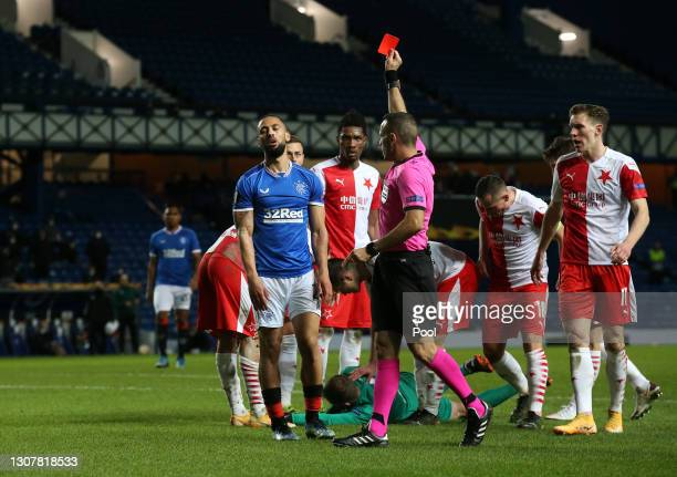 Kemar Roofe of Rangers is shown a red card by Match Referee, Orel Grinfeld after a foul on Ondrej Kolar of Slavia Praha during the UEFA Europa League...