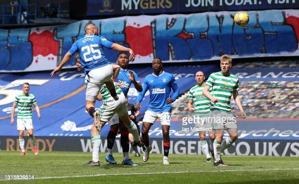 Kemar Roofe of Rangers scores their team's third goal during the Ladbrokes Scottish Premiership match between Rangers and Celtic at Ibrox Stadium on...