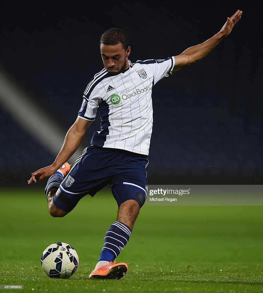 Kemar Roofe of West Brom in action during the Barclays U21 Premier League match between West Bromwich Albion and Manchester United at The Hawthorns on October 16, 2014 in West Bromwich, England.