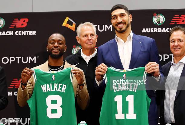 Kemba Walker and Enes Kanter are introduced as members of the Boston Celtics by Celtics President of Basketball Operations Danny Ainge during a press...