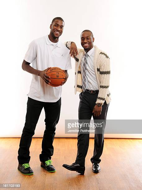 Kemba Walker and Michael KiddGilchrist of the Charlotte Bobcats poses for portraits during the NBAE Circuit as part of 2013 AllStar Weekend at the...