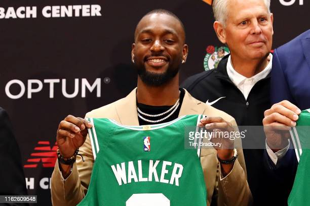 Kemba Walker is introduced as a member of the Boston Celtics during a press conference at the Auerbach Center at New Balance World Headquarters on...