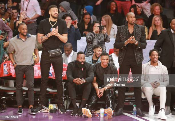 Kemba Walker JaVale McGee James Harden Russell Westbrook Serge Ibaka and DeMar Derozan attend The 2018 State Farm AllStar Saturday Night at Staples...