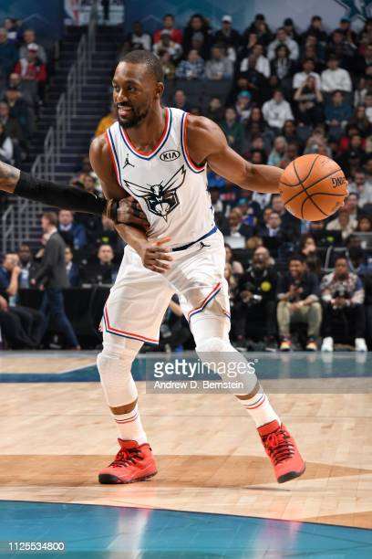 Kemba Walker of Team Giannis handles the ball against Team LeBron during the 2019 NBA AllStar Game on February 17 2019 at the Spectrum Center in...