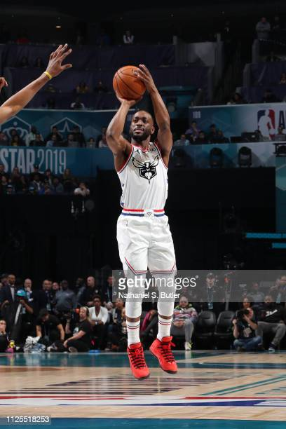 Kemba Walker of Team Giannis shoots a threepointer during the 2019 NBA AllStar Game on February 17 2019 at the Spectrum Center in Charlotte North...