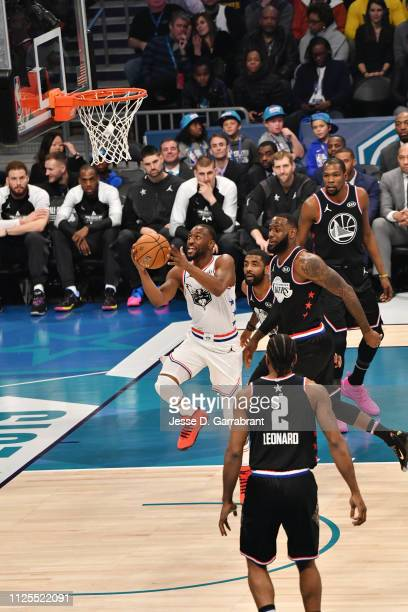 Kemba Walker of Team Giannis shoots the ball against Team LeBron during the 2019 NBA All Star Game on February 17 2019 at Spectrum Center in...