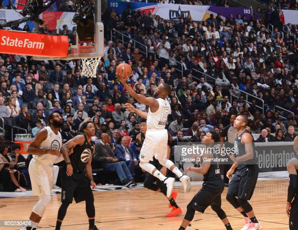 Kemba Walker of Team LeBron goes up for the layup against Team Curry during the NBA AllStar Game as a part of 2018 NBA AllStar Weekend at STAPLES...