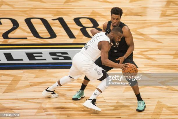 Kemba Walker of Team Lebron in action against Kyle Lowry of Team Stephen during the 2018 NBA AllStar Game at the Staples Center in Los Angeles...