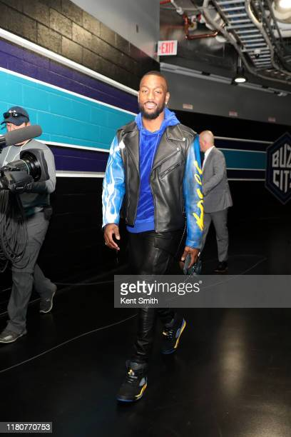Kemba Walker of the Boston Celtics arrives prior to a game against the Charlotte Hornets on November 7, 2019 at Spectrum Center in Charlotte, North...