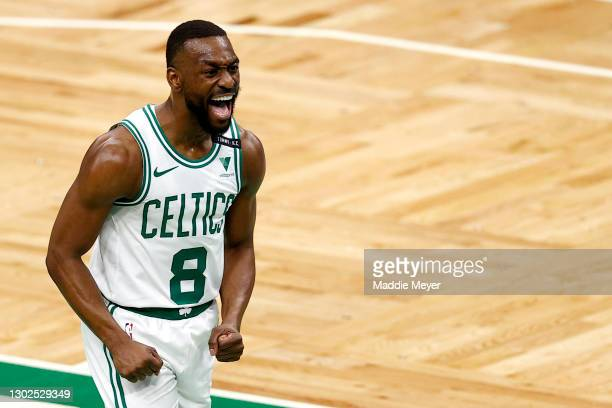 Kemba Walker of the Boston Celtics celebrates during the first quarter against the Denver Nuggets at TD Garden on February 16, 2021 in Boston,...