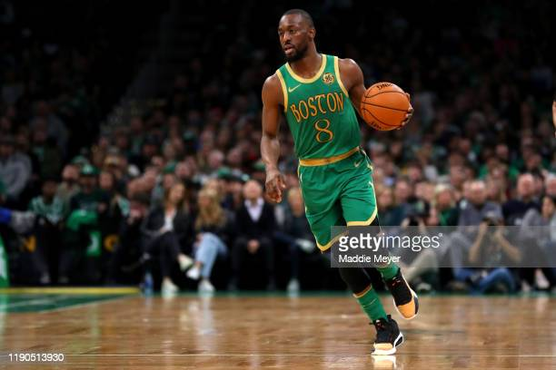 Kemba Walker of the Boston Celtics dribbles during the first half of the game against the Brooklyn Nets at TD Garden on November 27, 2019 in Boston,...