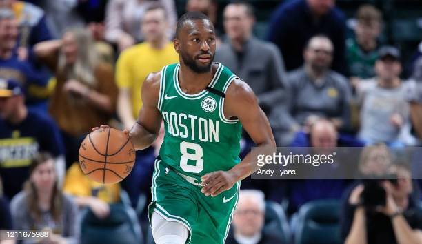 Kemba Walker of the Boston Celtics dribbles the ball against the Indiana Pacers at Bankers Life Fieldhouse on March 10, 2020 in Indianapolis,...