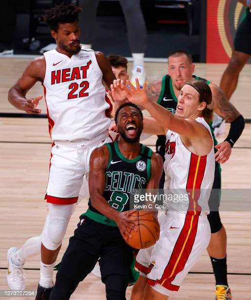 Kemba Walker of the Boston Celtics drives the ball against Kelly Olynyk of the Miami Heat during the fourth quarter in Game Two of the Eastern...
