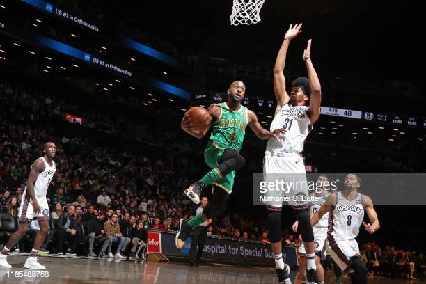 Kemba Walker of the Boston Celtics drives to the basket against the Brooklyn Nets on November 29 2019 at Barclays Center in Brooklyn New York NOTE TO...