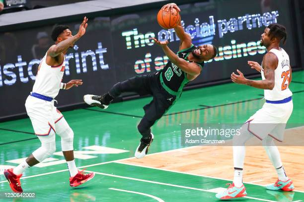 Kemba Walker of the Boston Celtics drives to the basket during a game against the New York Knicks at TD Garden on January 17, 2021 in Boston,...