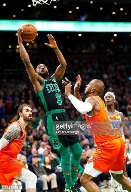 Kemba Walker of the Boston Celtics drives to the basket during the fourth quarter of the game against the Oklahoma City Thunder at TD Garden on March...