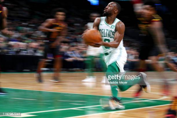 Kemba Walker of the Boston Celtics drives towards the basket during the game against the Cleveland Cavaliersat TD Garden on December 09, 2019 in...